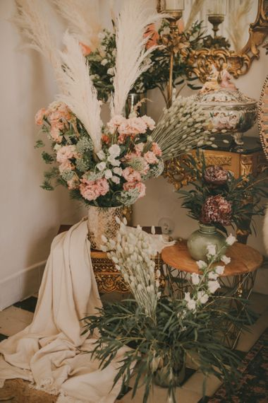 Pink and White Wedding Flower Arrangements with Foliage and Pampas Grass