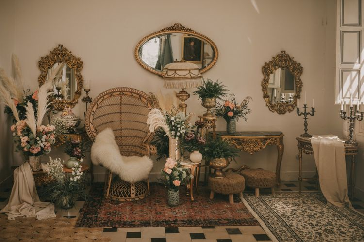 Gold Mirrors, Wicker Peacock Chair, Wool Rug and Wedding Flower Getting Ready area