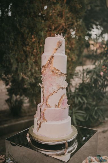 Six Tier White, Pink and Gold Geode Wedding Cake
