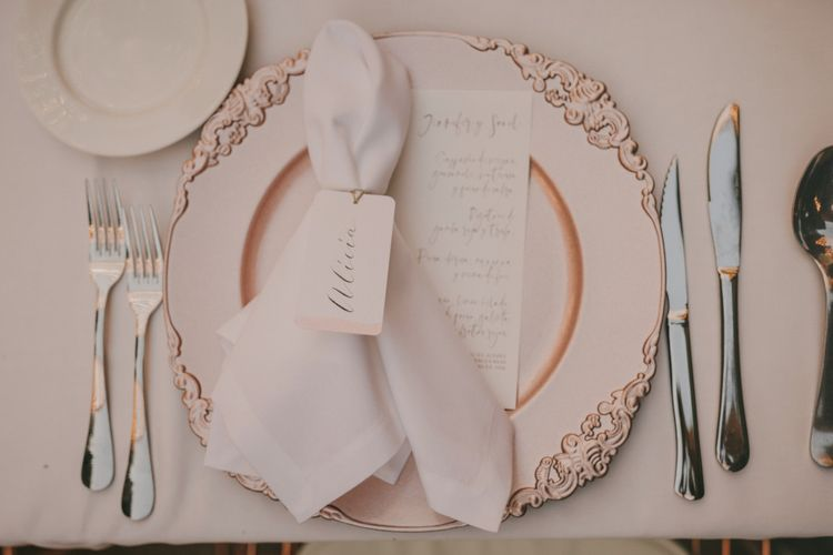 Place Setting with Ornate Tableware, Napkins and Place Name Card