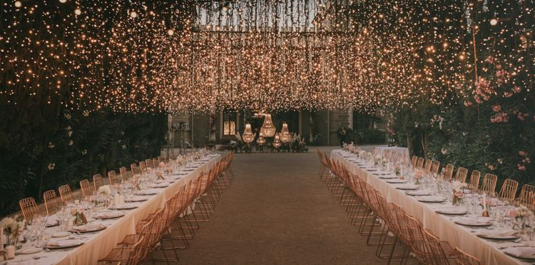 Outdoor Wedding Reception with Fairy Lights Canopy