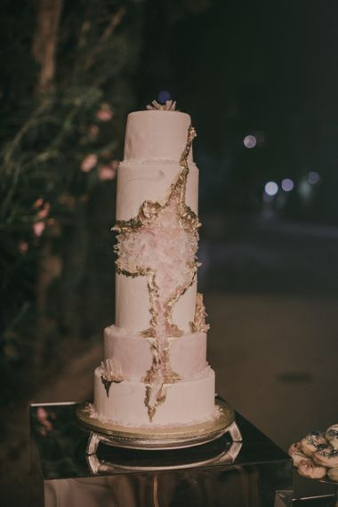 6 Tier Wedding Cake with Pink and Gold Geode Wedding Decor