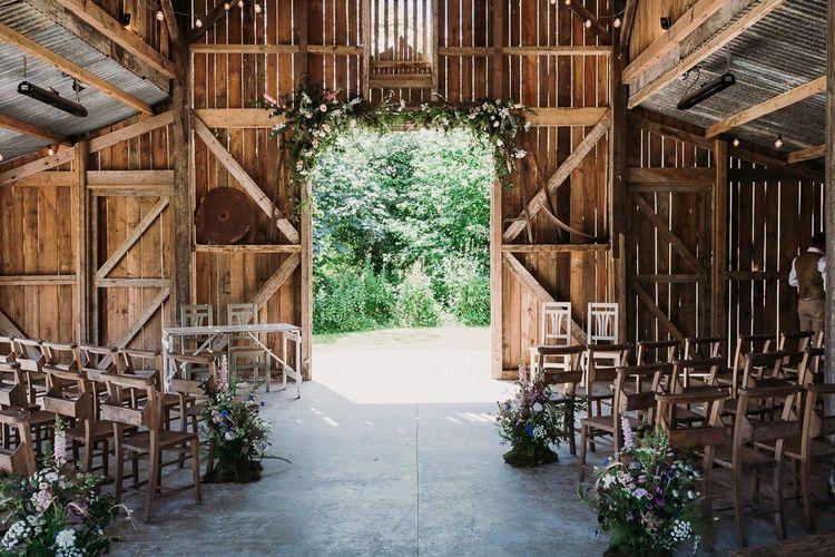 Rustic Barn Ceremony Set Up