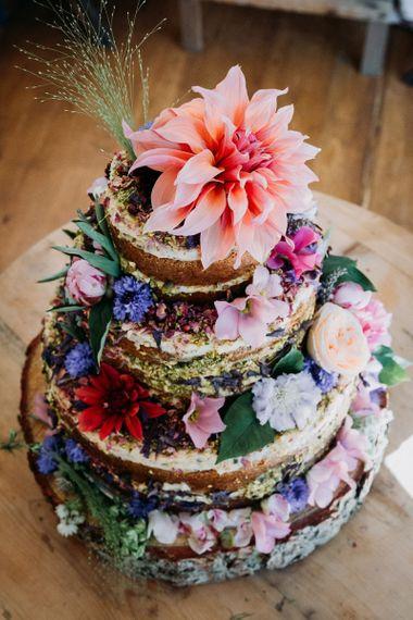 Naked Wedding Cake with Bright Flower Decoration