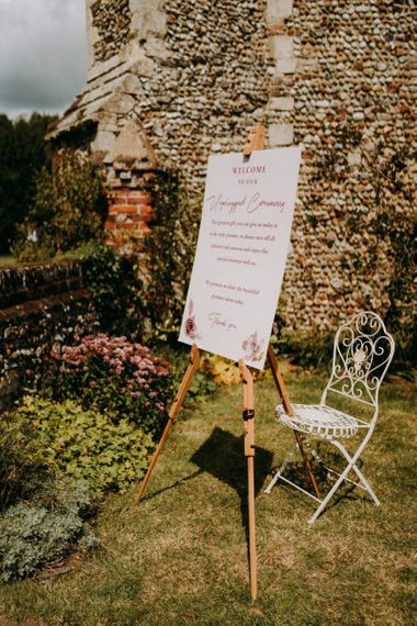 Outdoor humanist wedding unplugged ceremony sign
