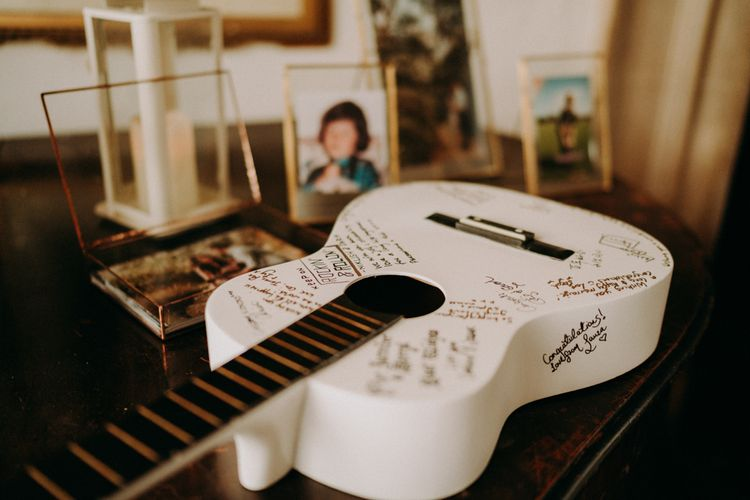 White guitar alternative wedding guest book