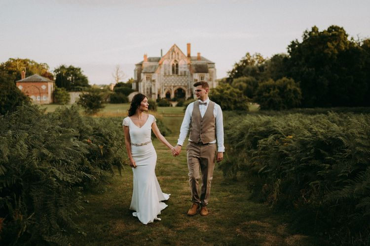 Elegant bride and groom at Butley Priory humanist wedding