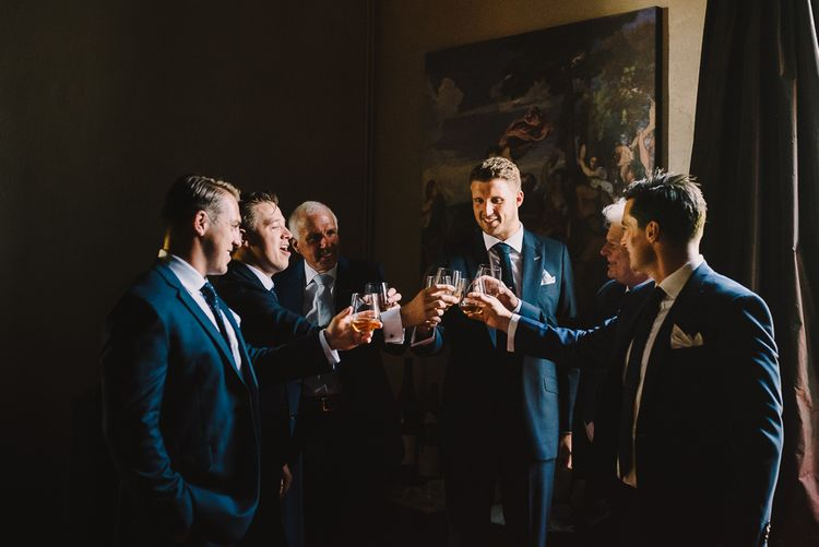 Groomsmen in Navy Dress2Kill Suits | Sophisticated Outdoor Wedding at Chateau Riguad, France with Neutral Colour Palette | Modern Vintage Weddings Photography