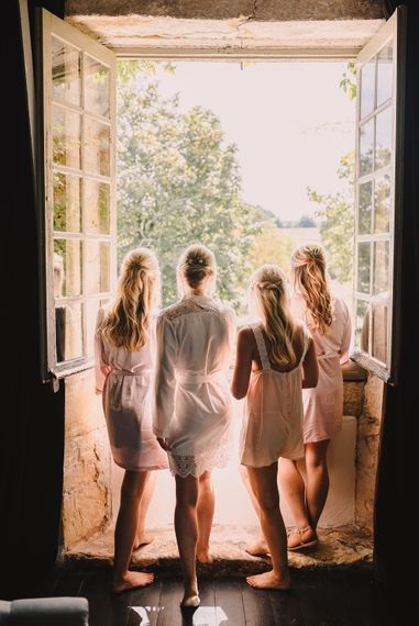 Bridal Party Wedding Morning Getting Ready Robes | Sophisticated Outdoor Wedding at Chateau Riguad, France with Neutral Colour Palette | Modern Vintage Weddings Photography