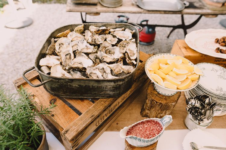 Oyster Bar Wedding Catering | Sophisticated Outdoor Wedding at Chateau Riguad, France with Neutral Colour Palette | Modern Vintage Weddings Photography