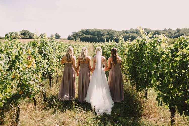 Bridal Party | Bridesmaids Nude in Jenny You Dresses  | Bride in Watters Gown | Sophisticated Outdoor Wedding at Chateau Riguad, France with Neutral Colour Palette | Modern Vintage Weddings Photography