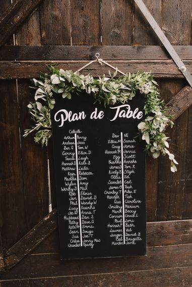 Blackboard Table Plan / Seating Chart |  Sophisticated Outdoor Wedding at Chateau Riguad, France with Neutral Colour Palette | Modern Vintage Weddings Photography