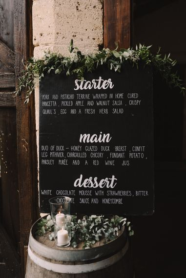 Chalkboard Menu Board |  Sophisticated Outdoor Wedding at Chateau Riguad, France with Neutral Colour Palette | Modern Vintage Weddings Photography