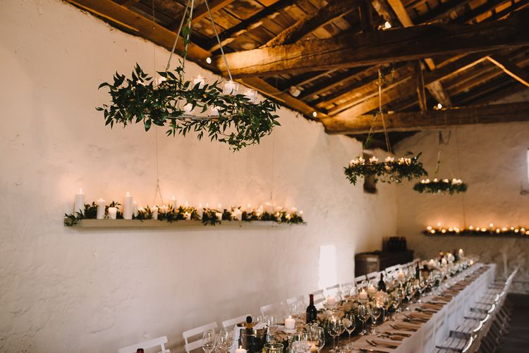 Greenery & Candle Light Reception Decor | Sophisticated Outdoor Wedding at Chateau Riguad, France with Neutral Colour Palette | Modern Vintage Weddings Photography