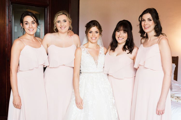 Almonry Barn Somerset Wedding With Bridesmaids In Pale Pink Mori Lee Dresses And Bride In BHLDN With Images From Bowtie And Belle Photography