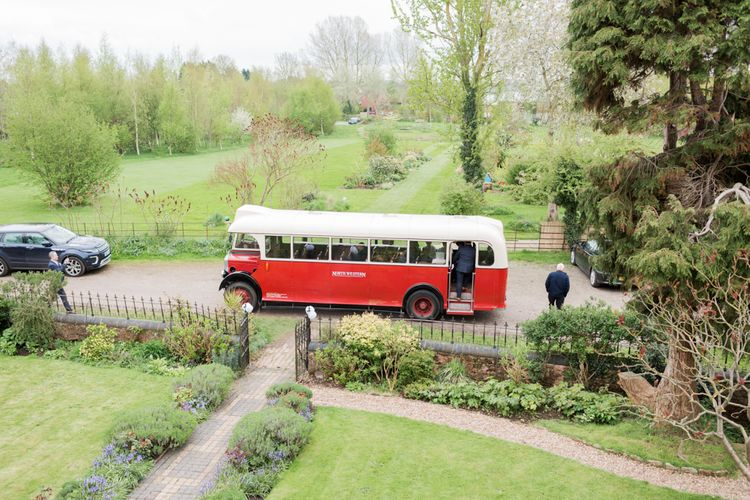 Vintage Bus Wedding Transport // Almonry Barn Somerset Wedding With Bridesmaids In Pale Pink Mori Lee Dresses And Bride In BHLDN With Images From Bowtie And Belle Photography