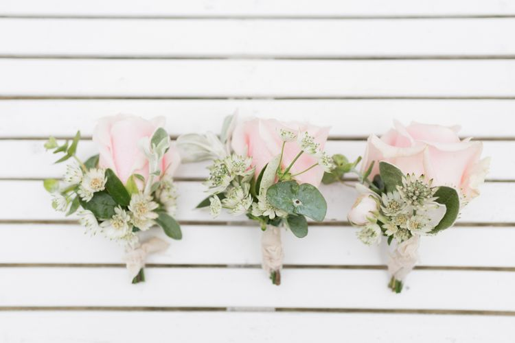 Pink Rose Buttonholes // Almonry Barn Somerset Wedding With Bridesmaids In Pale Pink Mori Lee Dresses And Bride In BHLDN With Images From Bowtie And Belle Photography
