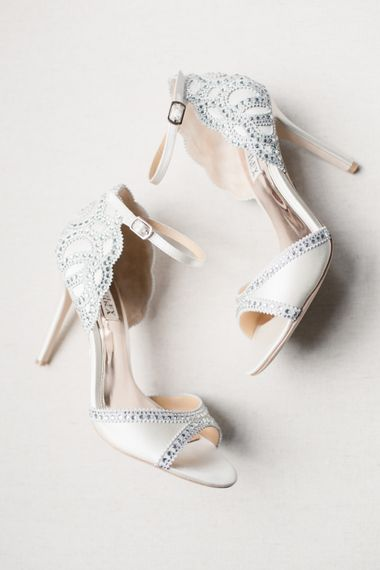 Sparkly Wedding Shoes // Almonry Barn Somerset Wedding With Bridesmaids In Pale Pink Mori Lee Dresses And Bride In BHLDN With Images From Bowtie And Belle Photography