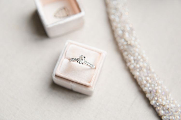 The Mrs Box Ring Box For Engagement Ring // Almonry Barn Somerset Wedding With Bridesmaids In Pale Pink Mori Lee Dresses And Bride In BHLDN With Images From Bowtie And Belle Photography