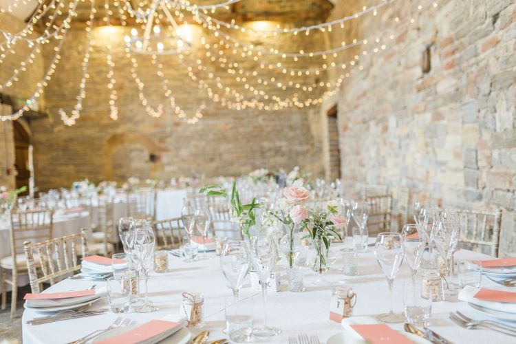 Fairy Light Canopy // Almonry Barn Somerset Wedding With Bridesmaids In Pale Pink Mori Lee Dresses And Bride In BHLDN With Images From Bowtie And Belle Photography
