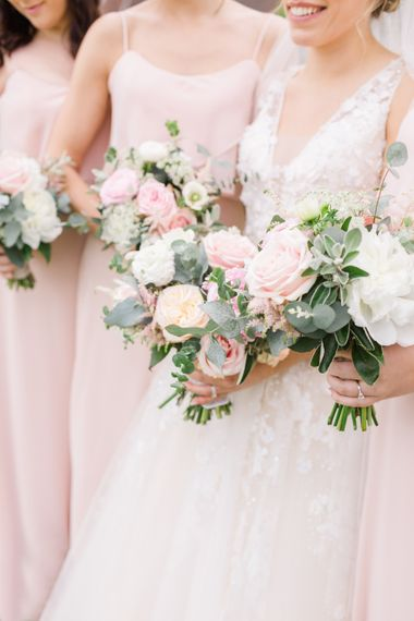 Pastel Wedding Bouquets With Roses And Peonies // Almonry Barn Somerset Wedding With Bridesmaids In Pale Pink Mori Lee Dresses And Bride In BHLDN With Images From Bowtie And Belle Photography
