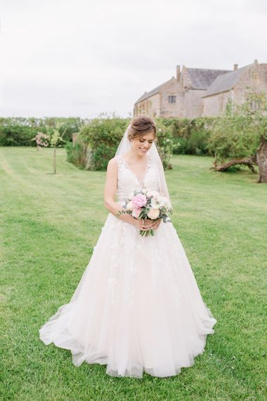 Bride In BHLDN Dress // Almonry Barn Somerset Wedding With Bridesmaids In Pale Pink Mori Lee Dresses And Bride In BHLDN With Images From Bowtie And Belle Photography