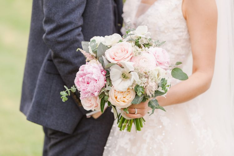 Pastel Wedding Bouquet With Roses And Peonies // Almonry Barn Somerset Wedding With Bridesmaids In Pale Pink Mori Lee Dresses And Bride In BHLDN With Images From Bowtie And Belle Photography