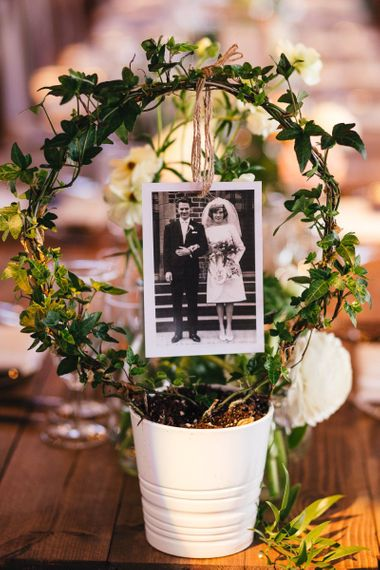 Plant Pot Table Name Sign with Polaroid Picture