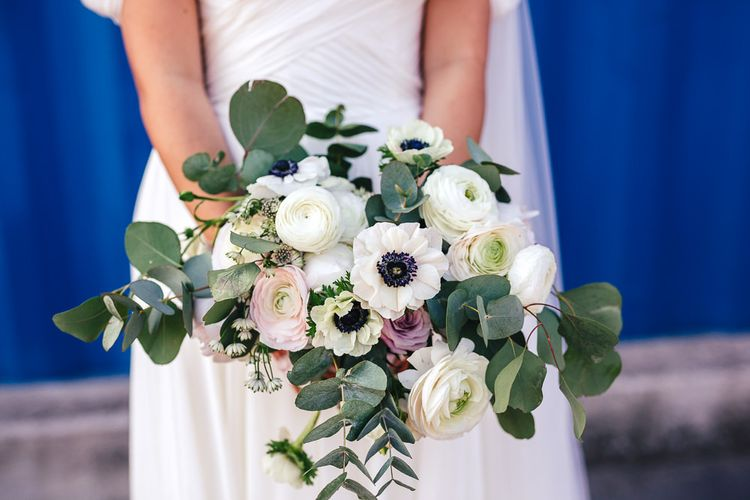 Romantic Wedding Bouquet with Ranunculus and Anemone Flowers