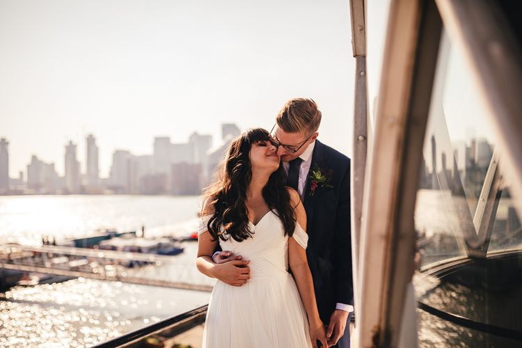 Sunset Portrait with Bride in Martina Liana Chiffon Wedding Dress with Bardot Sleeves and Groom in Navy Charles Tyrwhitt Suit