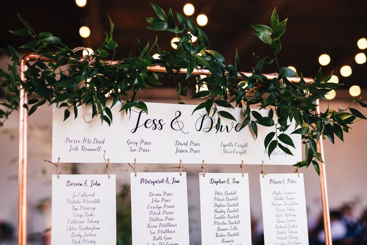 Copper Frame Table Plan with Greenery Decor