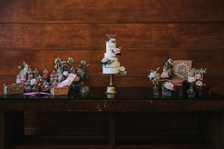 Three-Tier Semi-Naked Wedding Cake on Gold Stand with Fresh Flowers | Gold Calligraphy Cake Topper | Retro Sweet Bar | Cards Box | Calligraphy Guestbook Sign | Bud Vases with Blush Roses | Statement Floral Arrangement Altar and Potted Plants with Copper Frame Table Plan and Lace Jacket | Miss Gen Photography