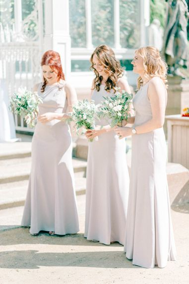Bridesmaids In Grey Dresses // Giselle Dress By Anna Campbell Sefton Park Palm House Wedding Photography By Sarah Jane Ethan