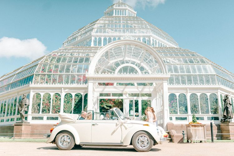 Vintage Wedding Car // Giselle Dress By Anna Campbell Sefton Park Palm House Wedding Photography By Sarah Jane Ethan