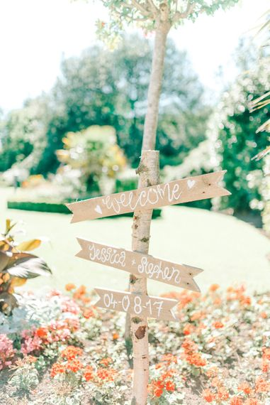 Rustic Wooden Sign For Wedding // Giselle Dress By Anna Campbell Sefton Park Palm House Wedding Photography By Sarah Jane Ethan
