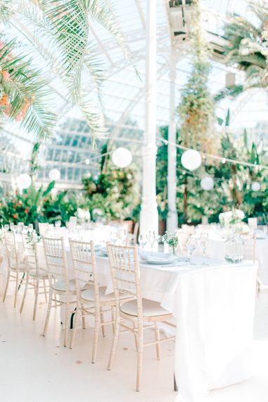 White Flower & Foliage Wedding Decor  // Giselle Dress By Anna Campbell Sefton Park Palm House Wedding Photography By Sarah Jane Ethan