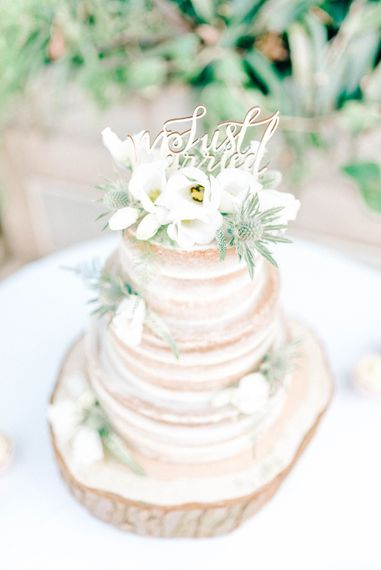 Semi Naked Wedding Cake With Fresh Flowers // Giselle Dress By Anna Campbell Sefton Park Palm House Wedding Photography By Sarah Jane Ethan