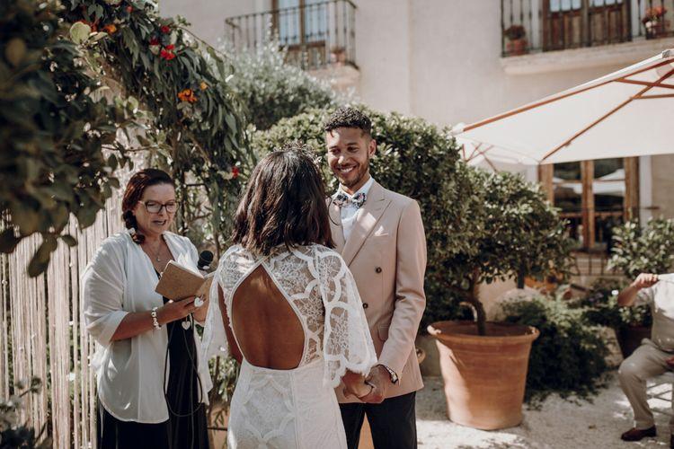 Boho bride in backless grace loves lace wedding dress