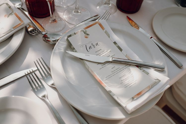 Place setting with menu card