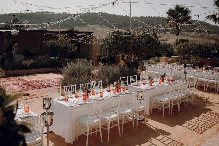 Outdoor reception at at Casa la Siesta Spanish wedding venue