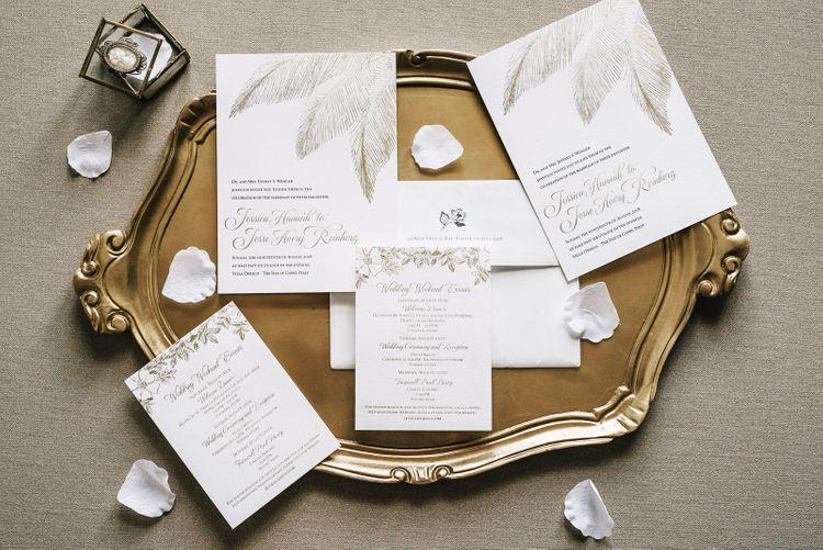 Elegant Wedding Stationery on Gold Serving Platter