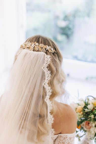 Lace Edged Wedding Veil and Gold Headpiece