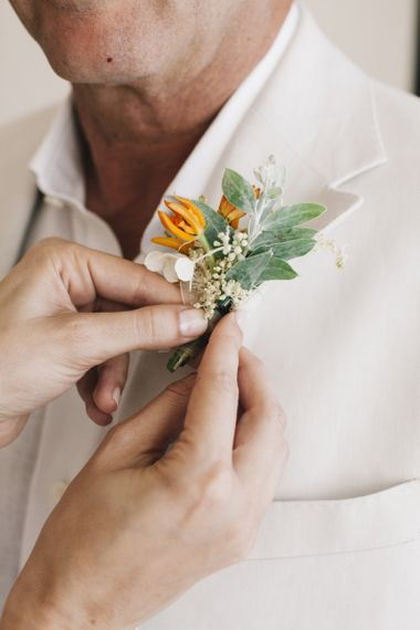 Small Green and Peach Buttonhole