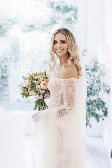 Boho Bride in Bardot Tulle and Lace Flora Bridal Wedding Dress