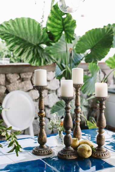 Wooden Candlesticks and church candles