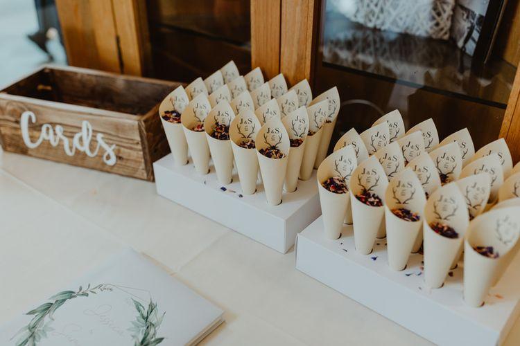 Wedding Confetti Cones and Wooden Card Box