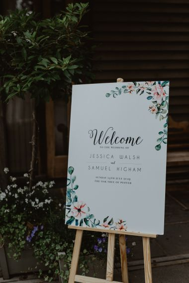 Wedding Welcome Sign With Foliage And Florals