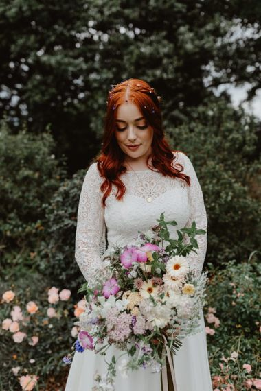 Bride For Rustic Wedding In Lace Detail Dress