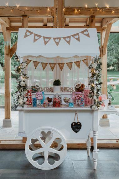 Tasty Sweetie Cart At Rustic Wedding