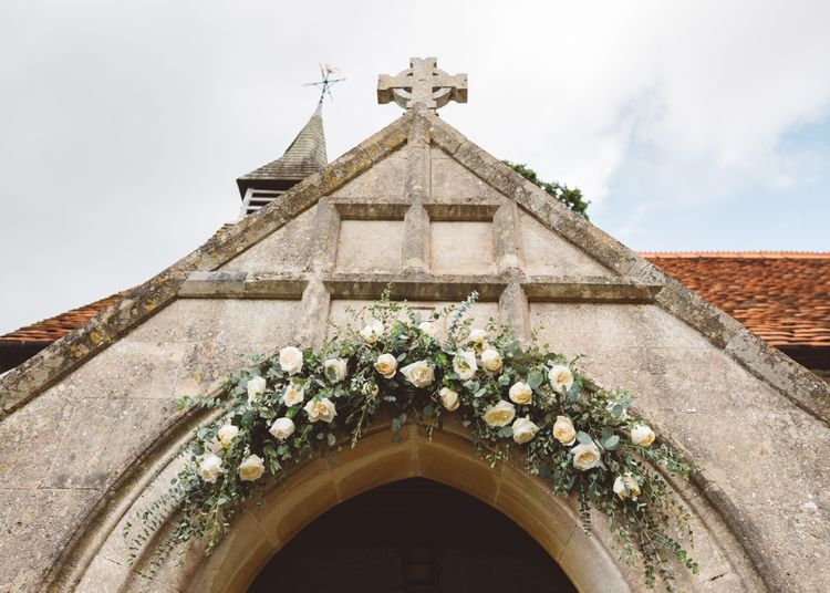 Floral Arch For Church Wedding // Valeria By Pronovias Bridal For Elegant At Home Wedding With Clear Marquee And White Florals And Images From Holly Carlin Photography
